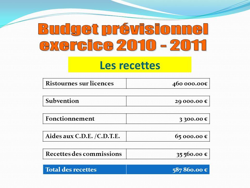 Ristournes sur licences460 000.00 Les recettes Subvention29 000.00 Fonctionnement3 300.00 Aides aux C.D.E.