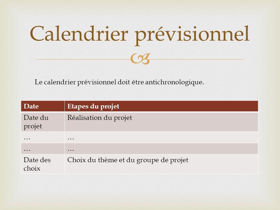 DateEtapes du projet Date du projet Réalisation du projet …… …… Date des choix Choix du thème et du groupe de projet Calendrier prévisionnel Le calend