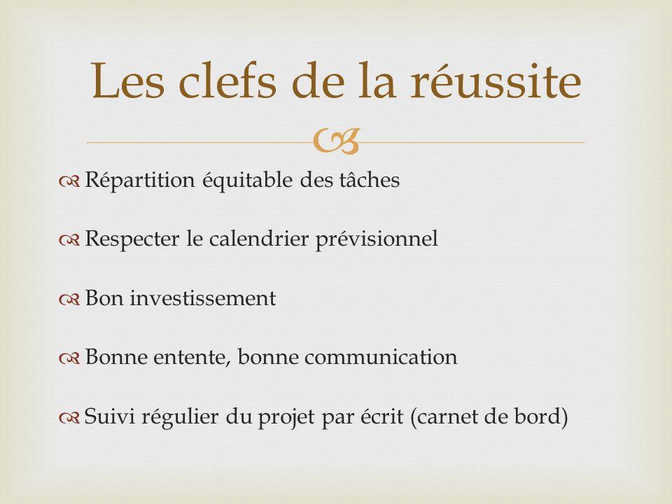 Répartition équitable des tâches Respecter le calendrier prévisionnel Bon investissement Bonne entente, bonne communication Suivi régulier du projet p