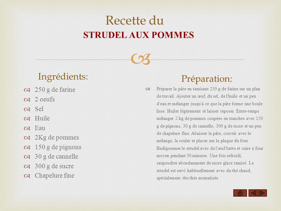 Recette du STRUDEL AUX POMMES Ingrédients: 250 g de farine 2 oeufs Sel Huile Eau 2Kg de pommes 150 g de pignons 30 g de cannelle 300 g de sucre Chapel