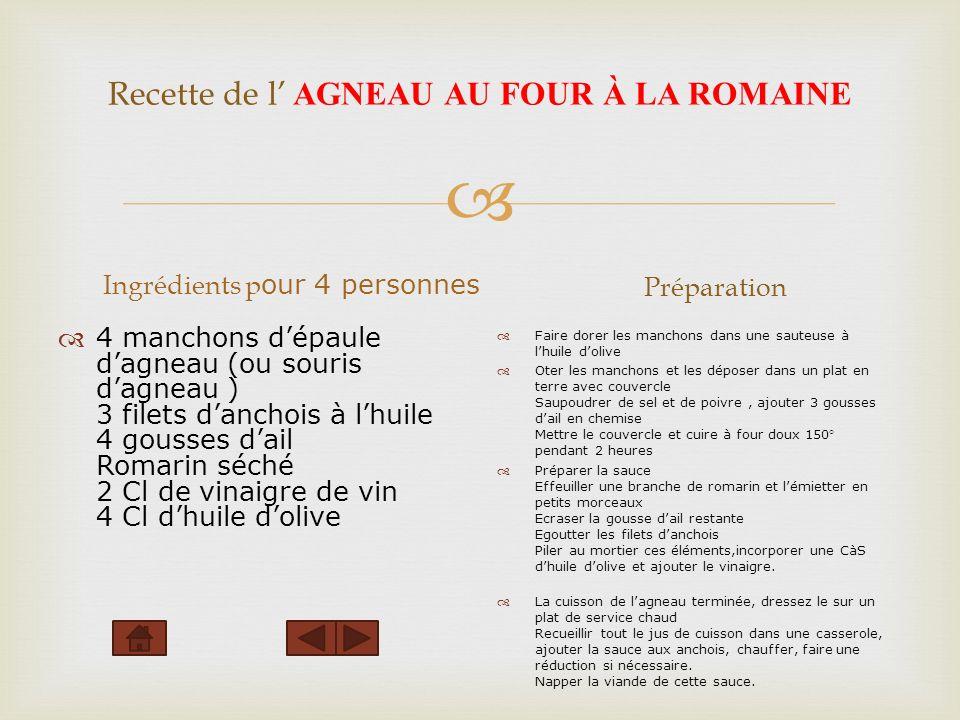 Recette de l AGNEAU AU FOUR À LA ROMAINE Ingrédients p our 4 personnes 4 manchons dépaule dagneau (ou souris dagneau ) 3 filets danchois à lhuile 4 go