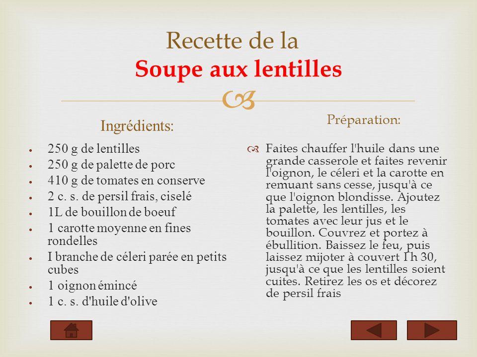 Recette de la Soupe aux lentilles Ingrédients: 250 g de lentilles 250 g de palette de porc 410 g de tomates en conserve 2 c.