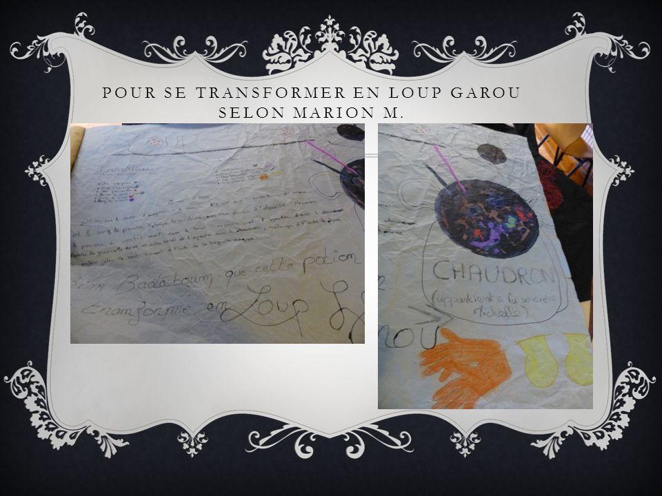 POUR SE TRANSFORMER EN LOUP GAROU SELON MARION M.