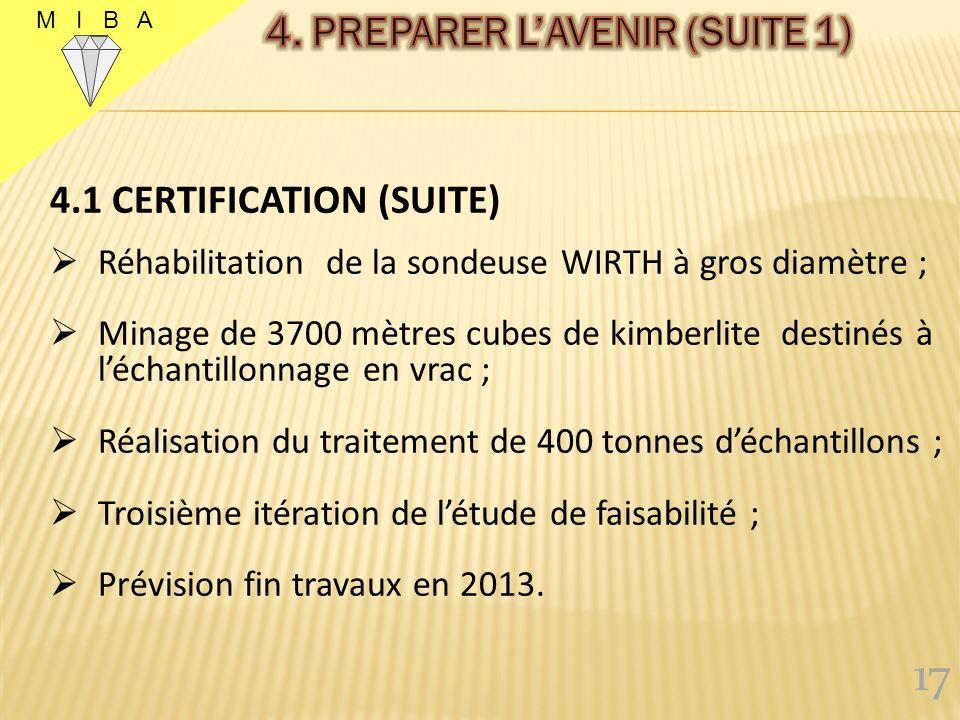 4.1. CERTIFICATION Arrivée de SRK en août 2011 Réhabilitation de lusine pour les échantillons ; 1300 mètres de sondage carottant réalisés ; Fonçage de