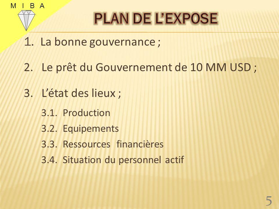 1.La bonne gouvernance ; 2. Le prêt du Gouvernement de 10 MM USD ; 3.