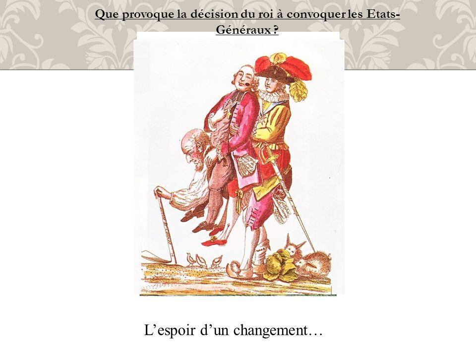 Lespoir dun changement… Que provoque la décision du roi à convoquer les Etats- Généraux ?