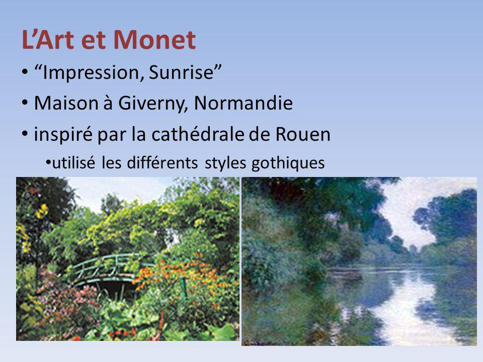 LArt et Monet Impression, Sunrise Maison à Giverny, Normandie inspiré par la cathédrale de Rouen utilisé les différents styles gothiques