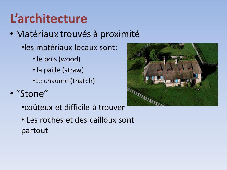 Larchitecture Matériaux trouvés à proximité les matériaux locaux sont: le bois (wood) la paille (straw) Le chaume (thatch) Stone coûteux et difficile
