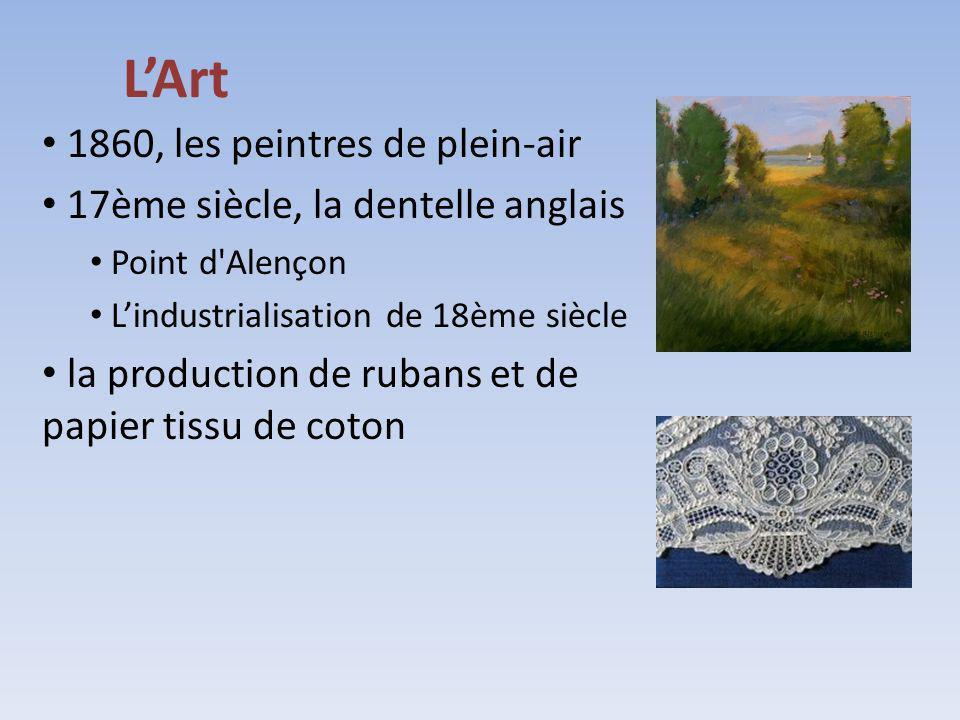 LArt 1860, les peintres de plein-air 17ème siècle, la dentelle anglais Point d'Alençon Lindustrialisation de 18ème siècle la production de rubans et d