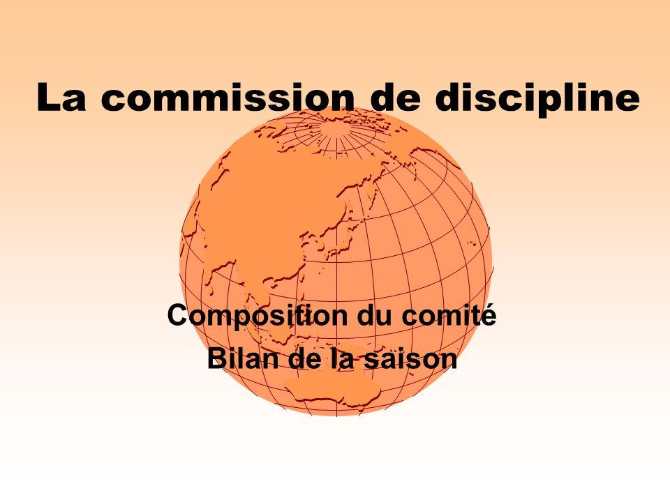 La commission de discipline Composition du comité Bilan de la saison