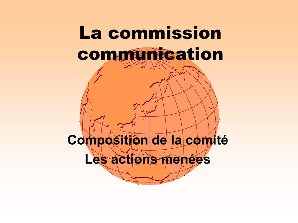 La commission communication Composition de la comité Les actions menées