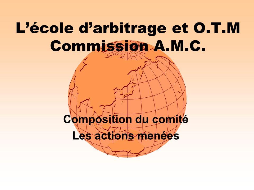 Lécole darbitrage et O.T.M Commission A.M.C. Composition du comité Les actions menées