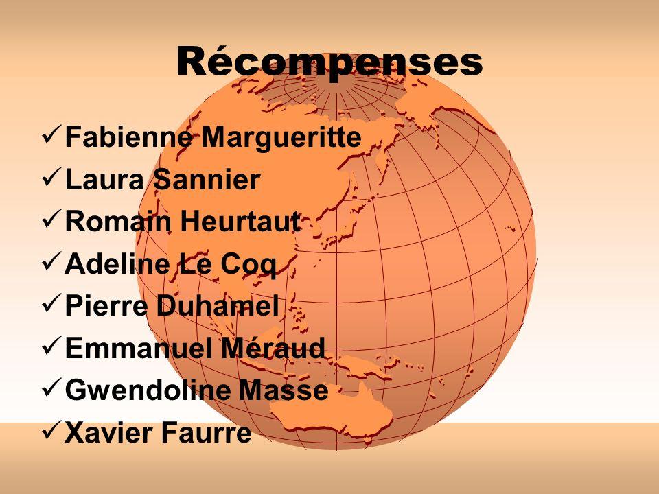 Récompenses Fabienne Margueritte Laura Sannier Romain Heurtaut Adeline Le Coq Pierre Duhamel Emmanuel Méraud Gwendoline Masse Xavier Faurre