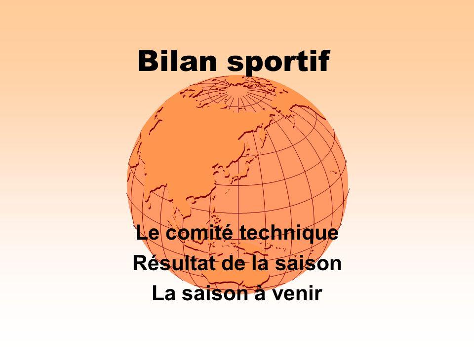 Bilan sportif Le comité technique Résultat de la saison La saison à venir