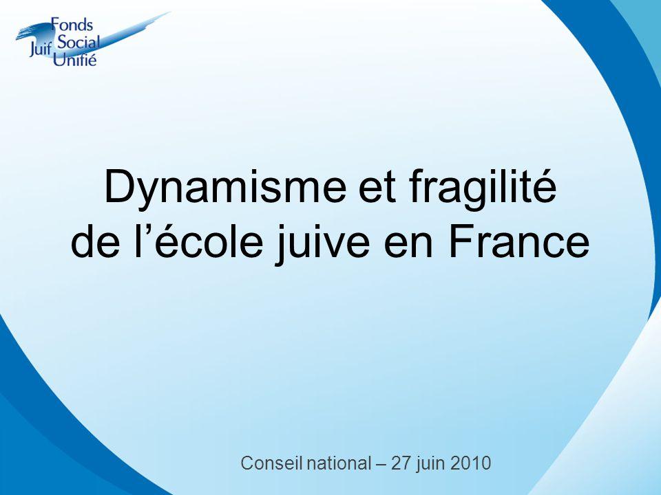 Dynamisme et fragilité de lécole juive en France Conseil national – 27 juin 2010