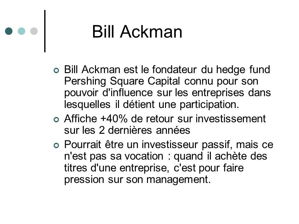 Bill Ackman est le fondateur du hedge fund Pershing Square Capital connu pour son pouvoir d'influence sur les entreprises dans lesquelles il détient u