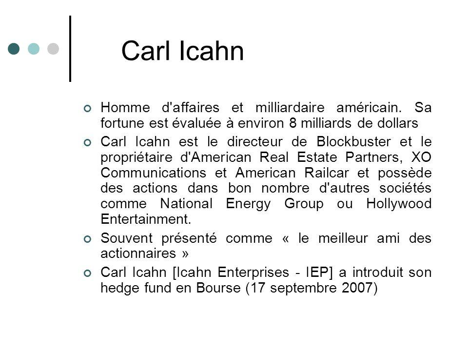 Homme d'affaires et milliardaire américain. Sa fortune est évaluée à environ 8 milliards de dollars Carl Icahn est le directeur de Blockbuster et le p