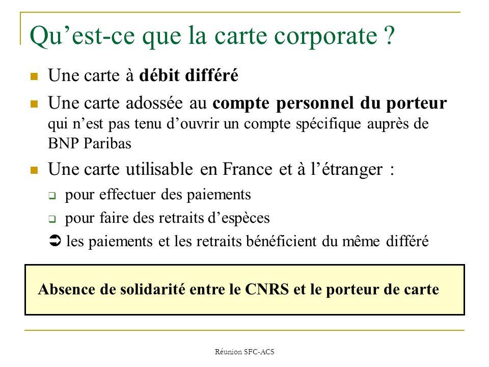 Réunion SFC-ACS Quest-ce que la carte corporate .