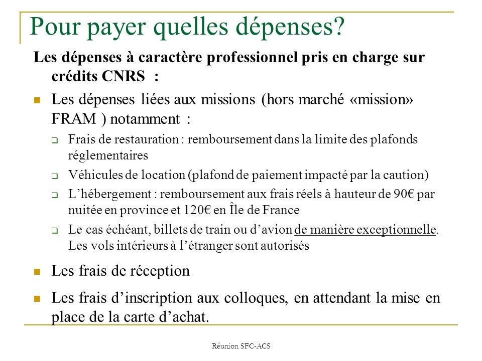 Réunion SFC-ACS Pour payer quelles dépenses.