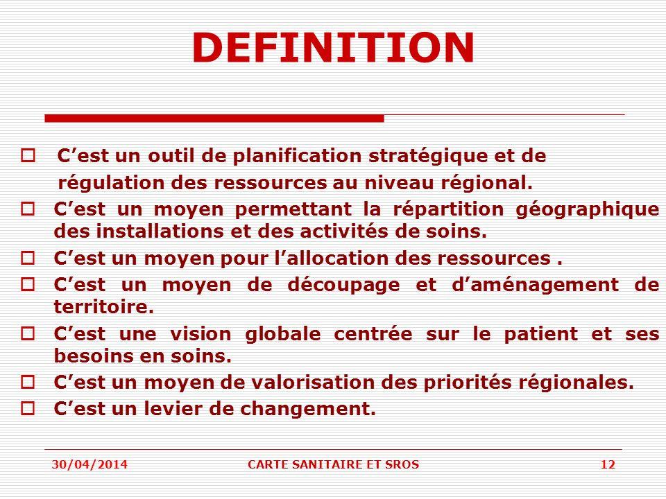 DEFINITION Cest un outil de planification stratégique et de régulation des ressources au niveau régional. Cest un moyen permettant la répartition géog