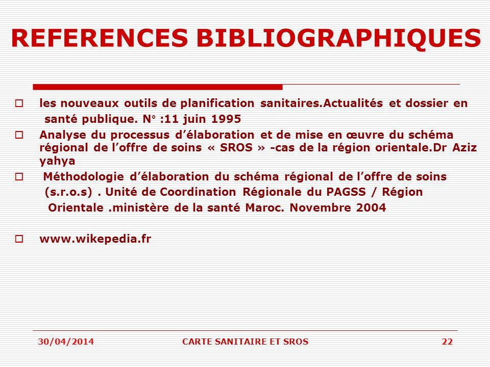 REFERENCES BIBLIOGRAPHIQUES les nouveaux outils de planification sanitaires.Actualités et dossier en santé publique.