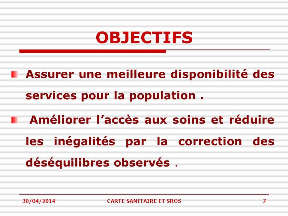 OBJECTIFS Assurer une meilleure disponibilité des services pour la population. Améliorer laccès aux soins et réduire les inégalités par la correction
