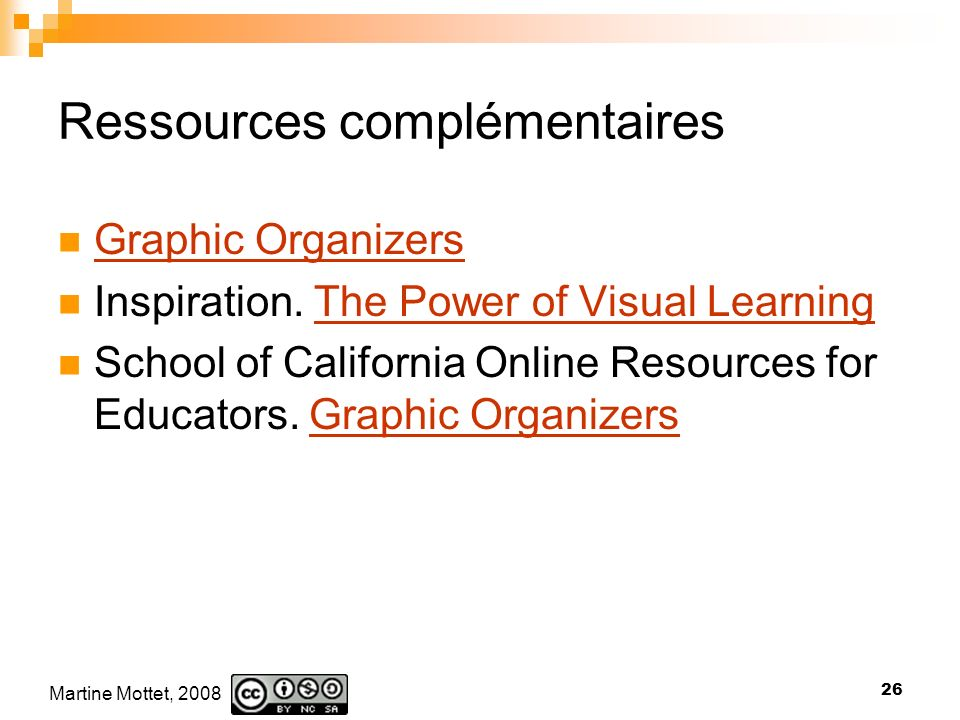 Martine Mottet, 2008 26 Ressources complémentaires Graphic Organizers Inspiration. The Power of Visual LearningThe Power of Visual Learning School of