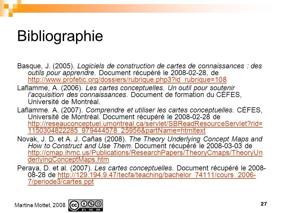 Martine Mottet, 2008 27 Bibliographie Basque, J.(2005).