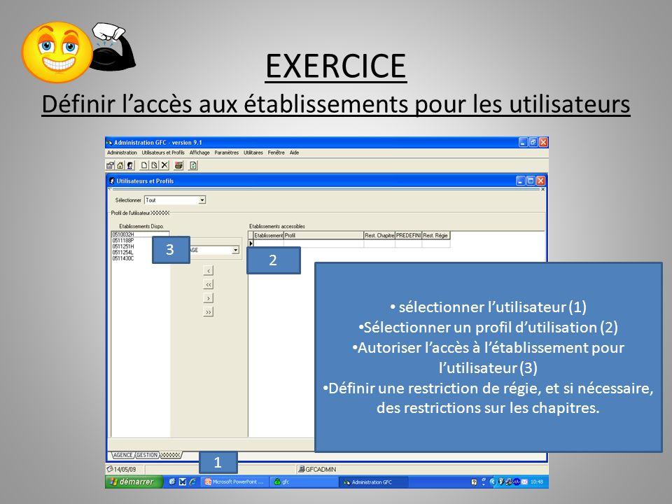 EXERCICE Définir laccès aux établissements pour les utilisateurs sélectionner lutilisateur (1) Sélectionner un profil dutilisation (2) Autoriser laccè
