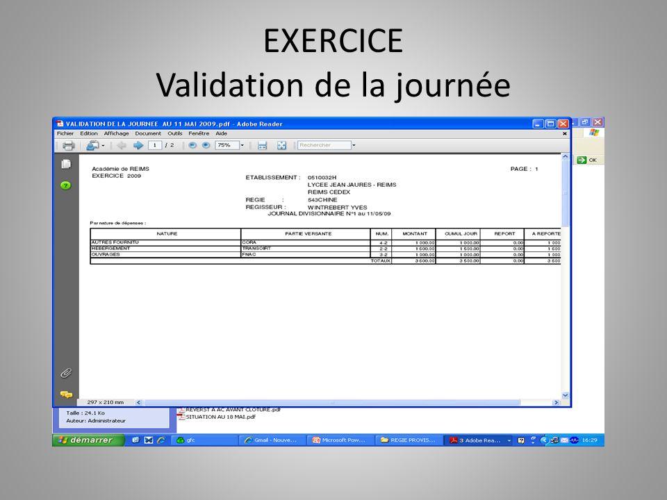 EXERCICE Validation de la journée