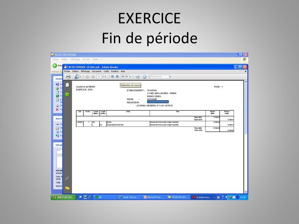 EXERCICE Fin de période