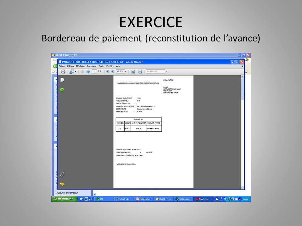 EXERCICE Bordereau de paiement (reconstitution de lavance)