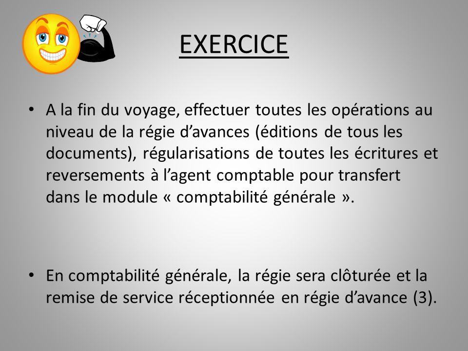 EXERCICE A la fin du voyage, effectuer toutes les opérations au niveau de la régie davances (éditions de tous les documents), régularisations de toute