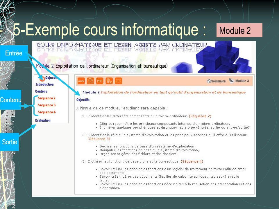 5-Exemple cours informatique : Entrée Contenu Sortie Module 2