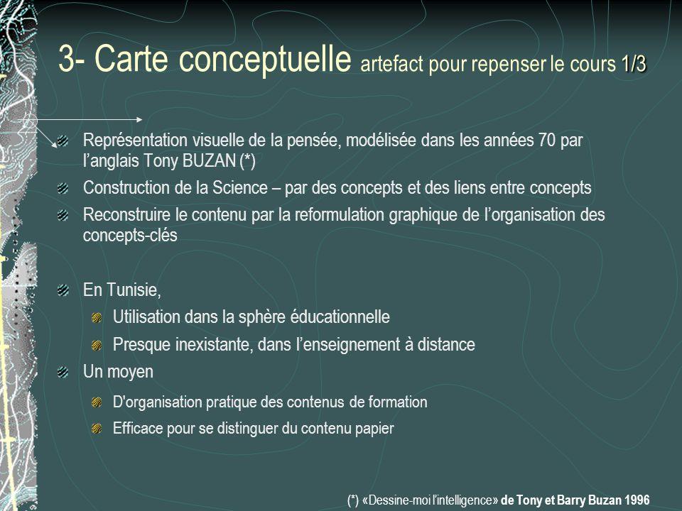 2/3 3- Carte conceptuelle : Exemple 2/3 Courant électrique Charges Milieu Champs Concept Central Concepts généraux Concepts spécifiques Niveau 0 Niveau 1Niveau 2Niveau 3 Niveau Bac - 1 Ions Électron Cation Anion Liquide Métallique