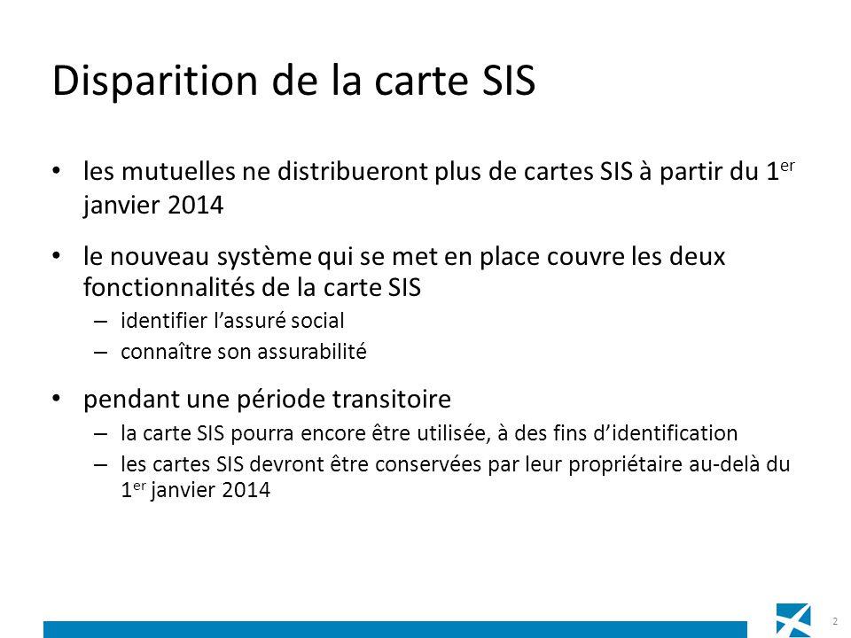 les mutuelles ne distribueront plus de cartes SIS à partir du 1 er janvier 2014 le nouveau système qui se met en place couvre les deux fonctionnalités