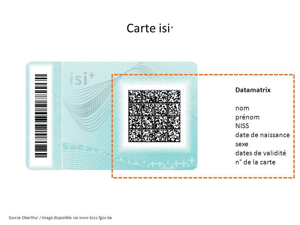 Carte isi + Datamatrix nom prénom NISS date de naissance sexe dates de validité n° de la carte Source Oberthur / image disponible via www.bcss.fgov.be