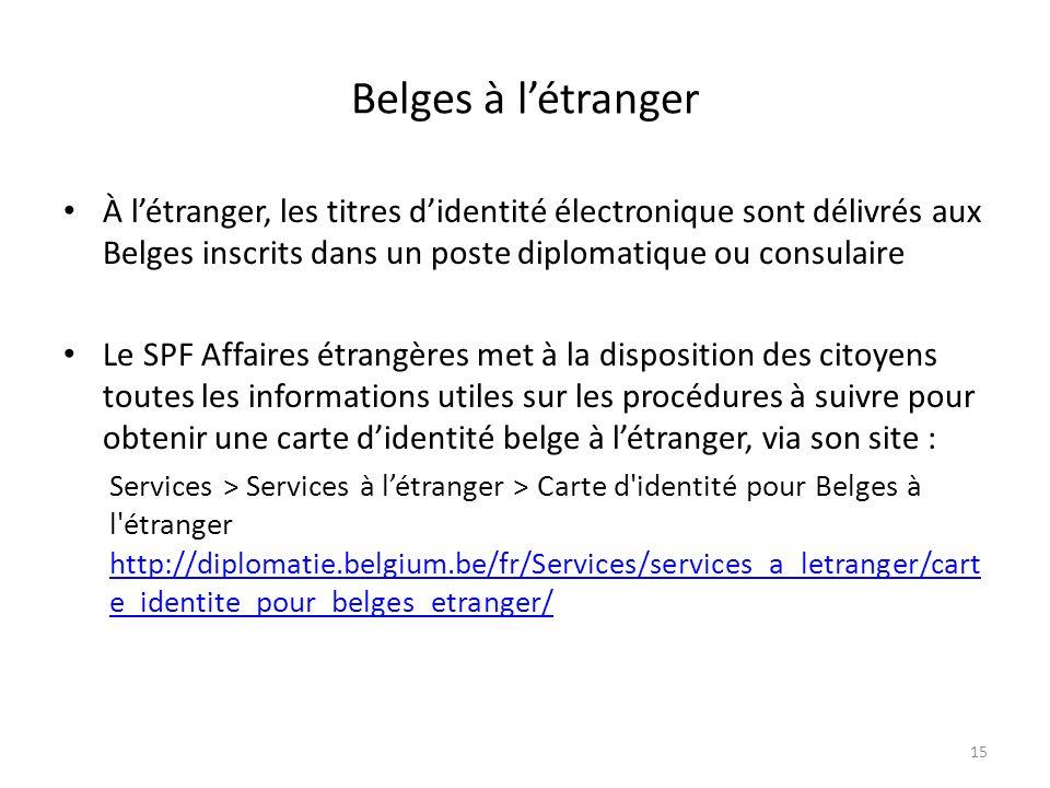 Belges à létranger À létranger, les titres didentité électronique sont délivrés aux Belges inscrits dans un poste diplomatique ou consulaire Le SPF Af
