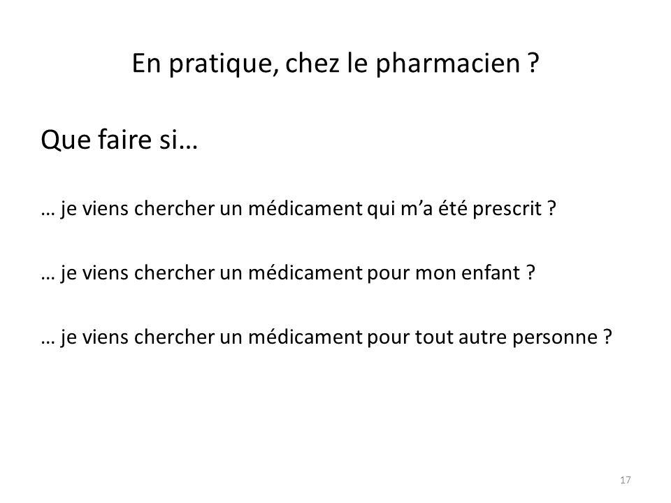 En pratique, chez le pharmacien ? Que faire si… … je viens chercher un médicament qui ma été prescrit ? … je viens chercher un médicament pour mon enf