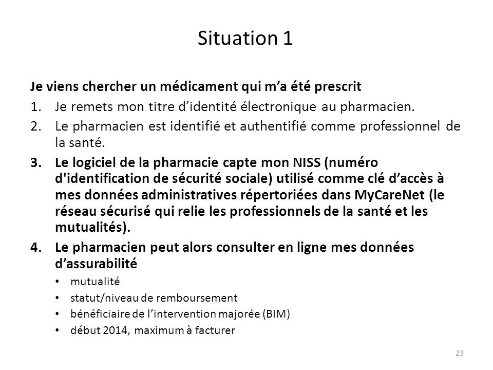 Situation 1 Je viens chercher un médicament qui ma été prescrit 1.Je remets mon titre didentité électronique au pharmacien. 2.Le pharmacien est identi
