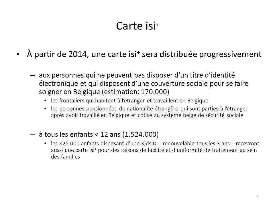 Carte isi + À partir de 2014, une carte isi + sera distribuée progressivement – aux personnes qui ne peuvent pas disposer dun titre didentité électron