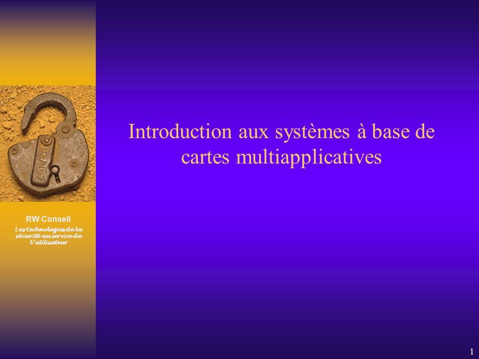 RW Conseil Les technologies de la sécurité au service de lutilisateur 1 Introduction aux systèmes à base de cartes multiapplicatives