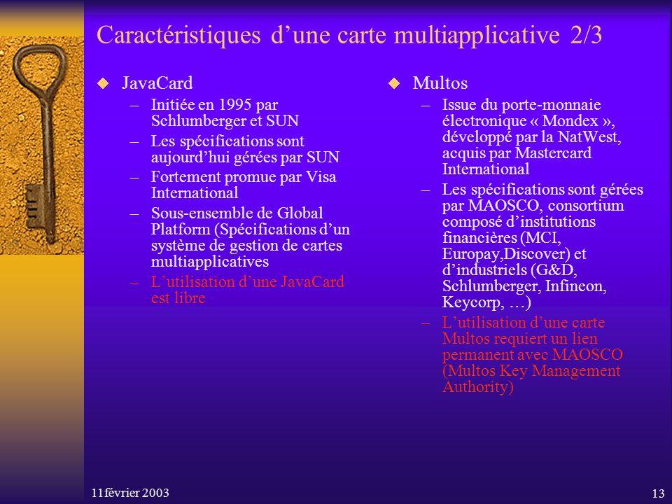 11février 200313 Caractéristiques dune carte multiapplicative 2/3 JavaCard –Initiée en 1995 par Schlumberger et SUN –Les spécifications sont aujourdhu