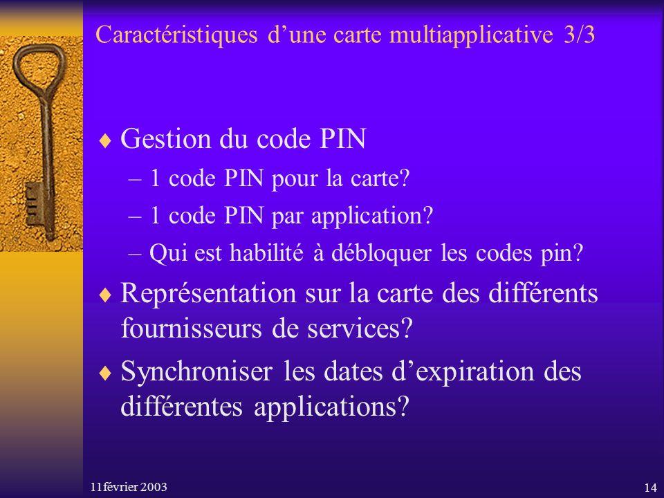 11février 200314 Caractéristiques dune carte multiapplicative 3/3 Gestion du code PIN –1 code PIN pour la carte? –1 code PIN par application? –Qui est