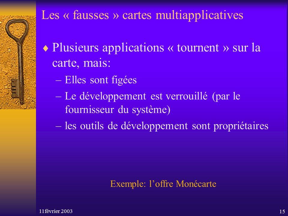 11février 200315 Les « fausses » cartes multiapplicatives Plusieurs applications « tournent » sur la carte, mais: –Elles sont figées –Le développement