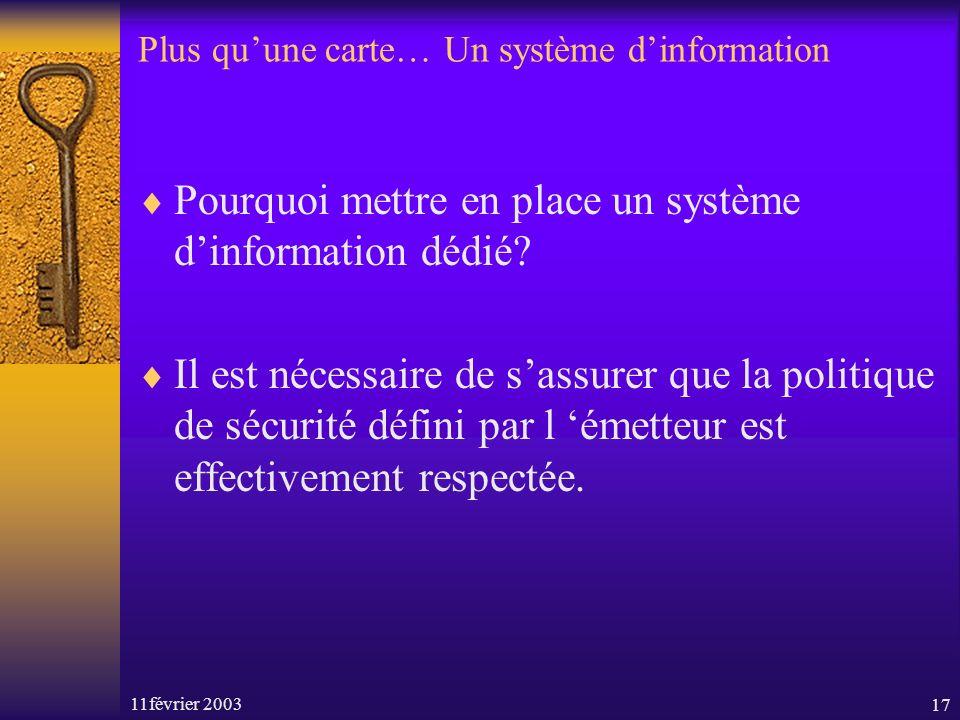 11février 200317 Plus quune carte… Un système dinformation Pourquoi mettre en place un système dinformation dédié? Il est nécessaire de sassurer que l