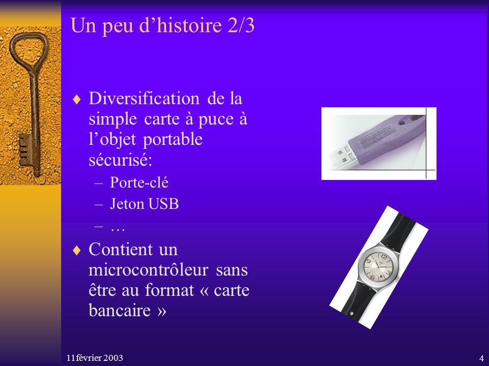 11février 20034 Un peu dhistoire 2/3 Diversification de la simple carte à puce à lobjet portable sécurisé: –Porte-clé –Jeton USB –… Contient un microc