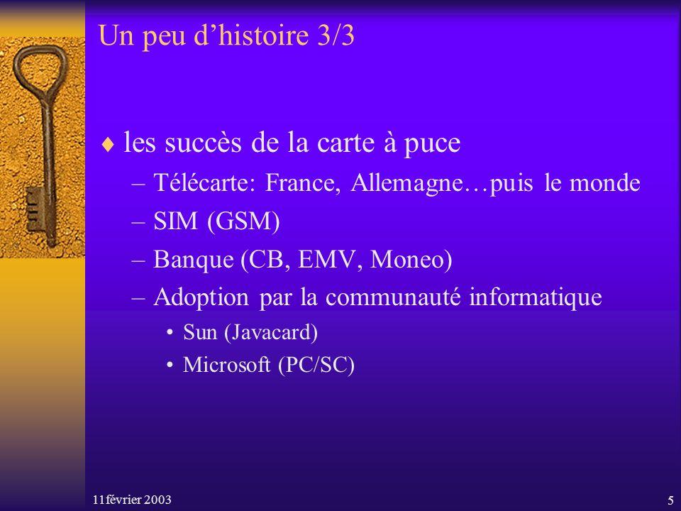 11février 20035 Un peu dhistoire 3/3 les succès de la carte à puce –Télécarte: France, Allemagne…puis le monde –SIM (GSM) –Banque (CB, EMV, Moneo) –Adoption par la communauté informatique Sun (Javacard) Microsoft (PC/SC)