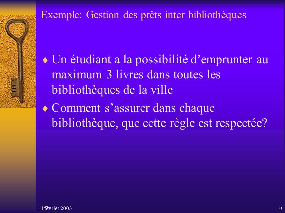 11février 20039 Exemple: Gestion des prêts inter bibliothèques Un étudiant a la possibilité demprunter au maximum 3 livres dans toutes les bibliothèqu