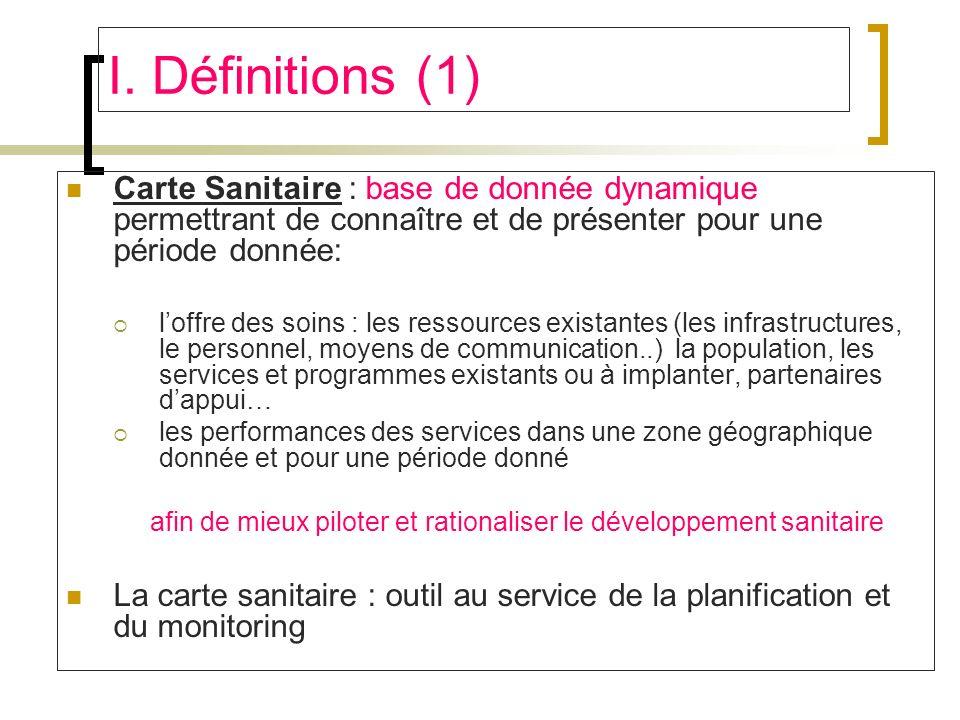 I. Définitions (1) Carte Sanitaire : base de donnée dynamique permettrant de connaître et de présenter pour une période donnée: loffre des soins : les